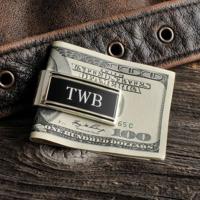 money clip, personalised with initials, best groomsmen gifts, hundred dollar bills, wooden background