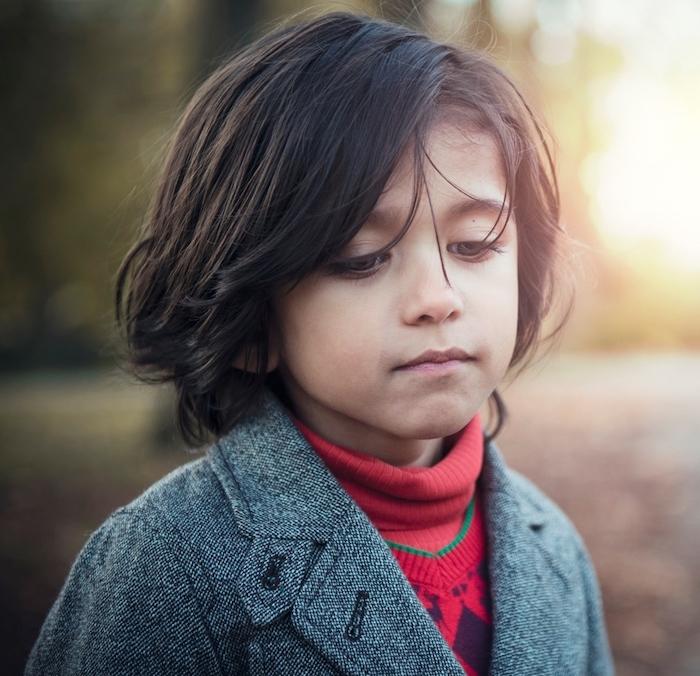little boy, red polo sweater, grey blazer, black hair, medium length, boys short haircuts