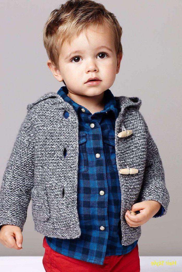 toddler boy, boy short haircuts, blue plaid shirt, red pants, grey cardigan, blonde hair