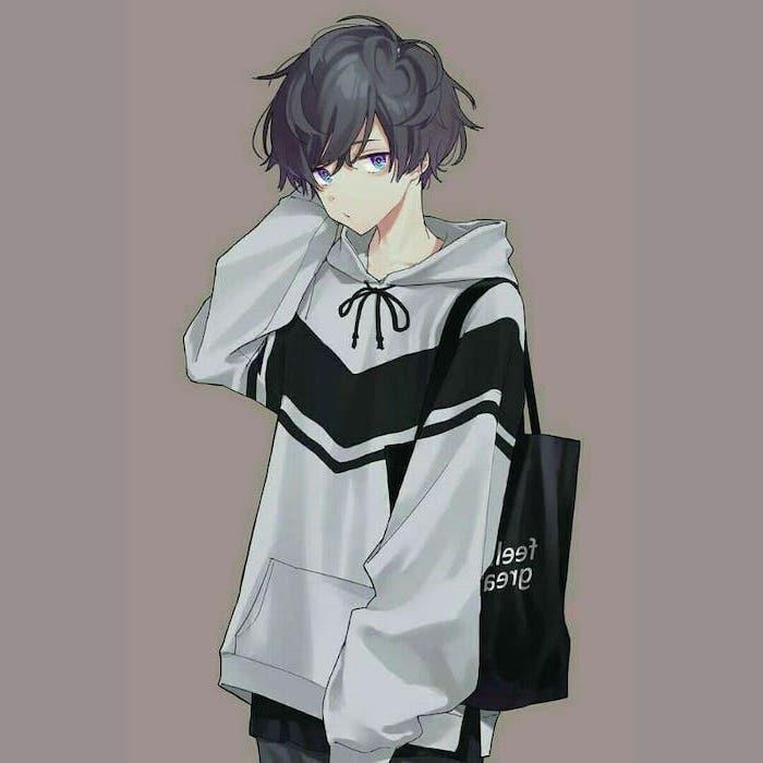 boy drawing, grey hoodie, black bag, black hair, anime drawing ideas, purple background
