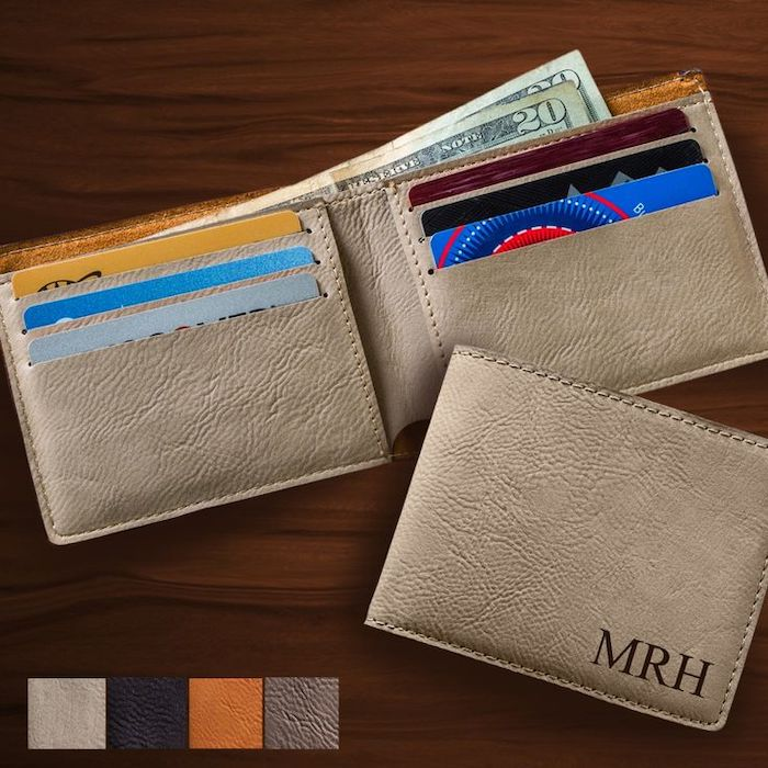 grey leather wallet, personalised with initials, best groomsmen gifts, wooden background