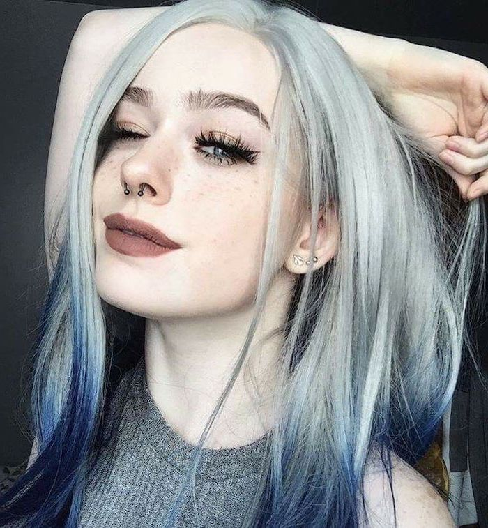 ombre hair brown to blonde, grey to dark blue, grey top, blue eyes