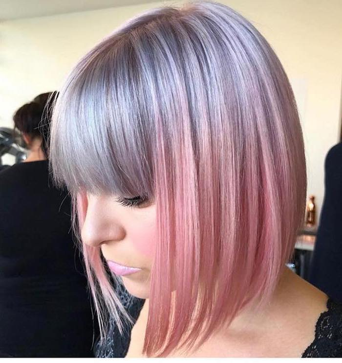 short asymmetrical bob, with bangs, grey to pink, ombre hair brown to blonde, black lace top