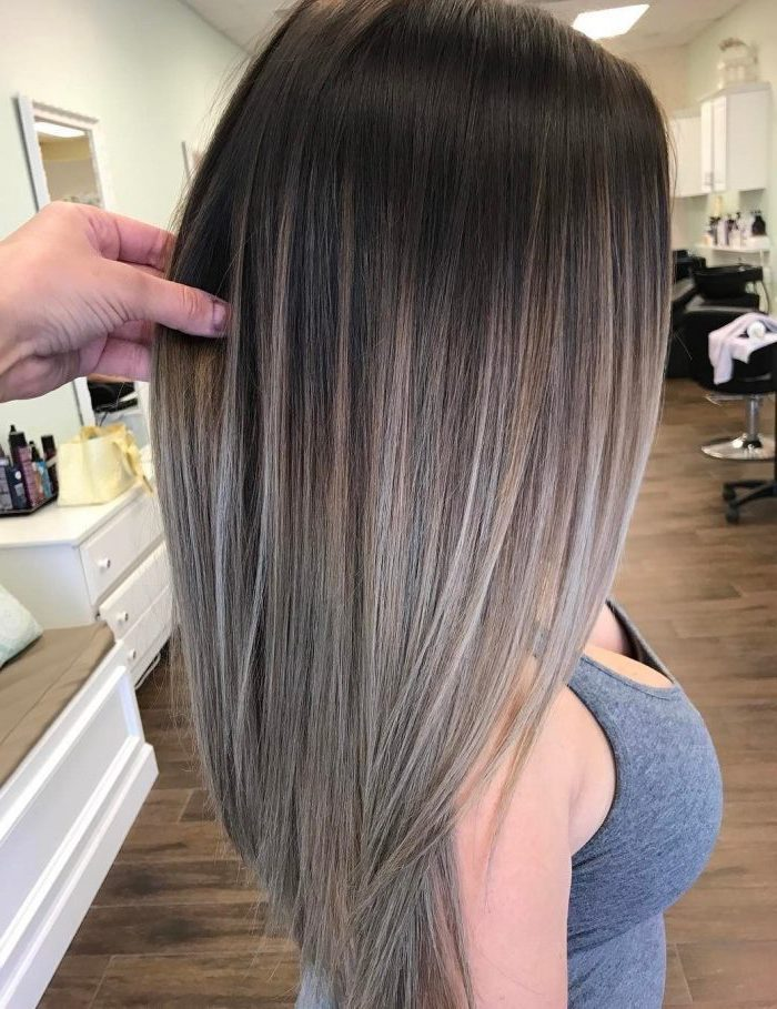 brown to grey, long straight hair, ombre hair brown to blonde, grey top, wooden floor