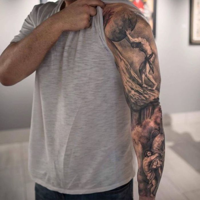 dragon sleeve tattoo, grey top, religious theme, man pushing a stone, up a mountain