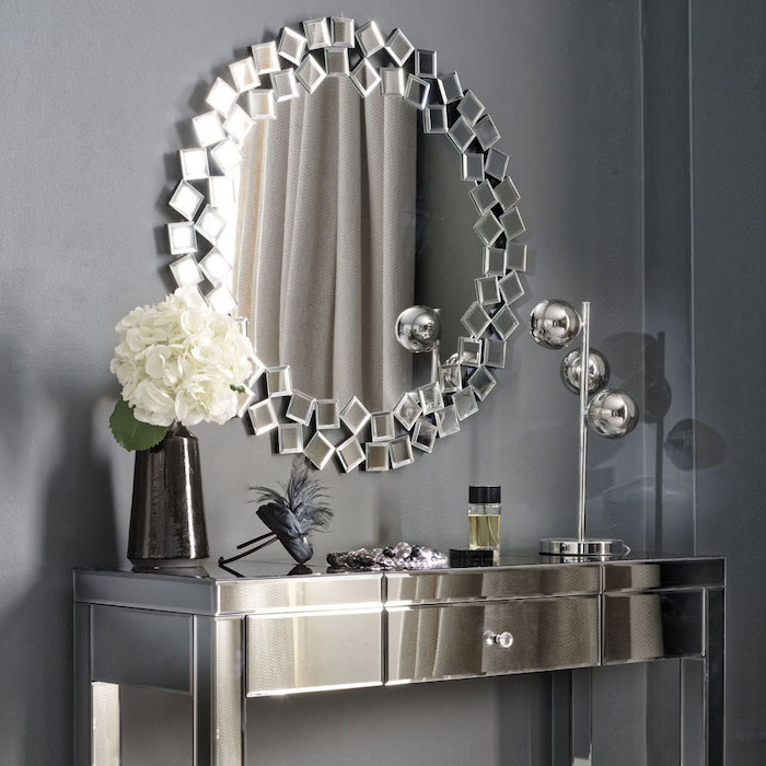 makeup desk vanity, mirror frame, made of square mirrors, metal table, with a drawer