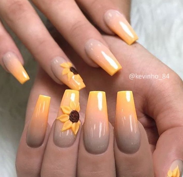 nail tip designs, nude and yellow ombre, long coffin nails, 3d sunflowers