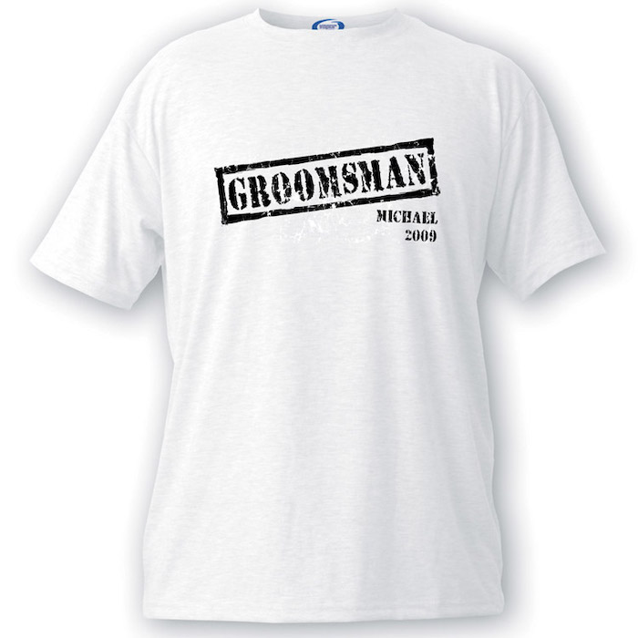 white t shirt, personalised with name, best groomsmen gifts, white background