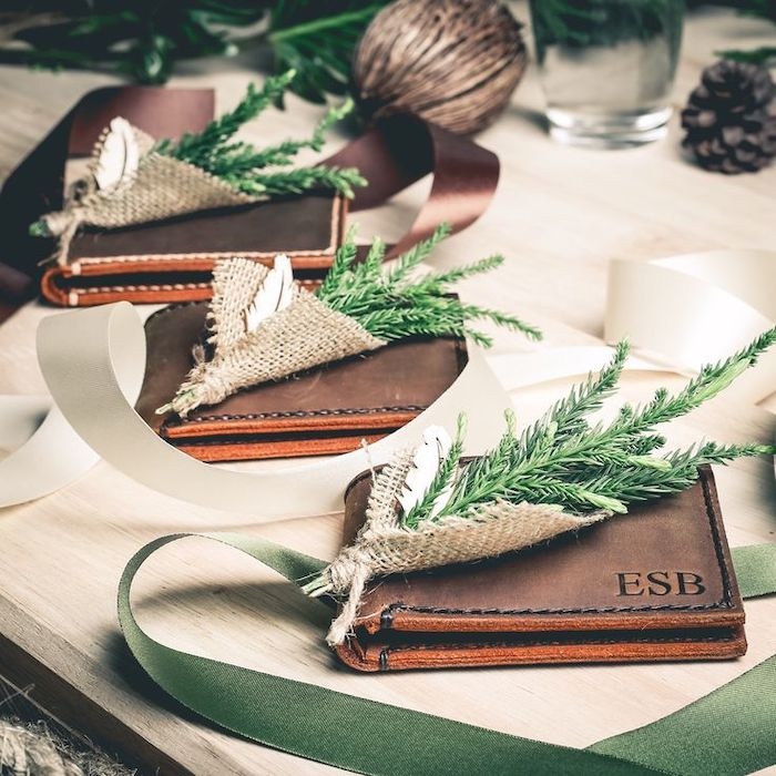 brown leather wallets, personalised with initials, groomsmen gift ideas, bunch of green tree branches