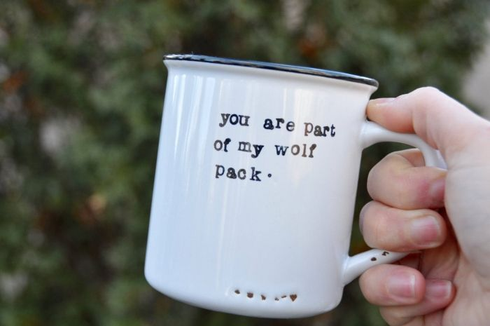 white metal mug, best groomsmen gifts ever, you are part of my wolf pack