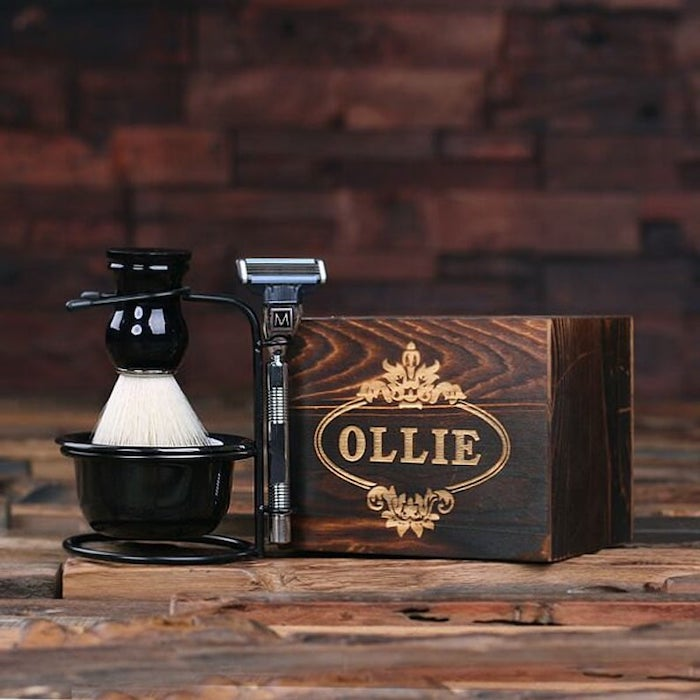 wooden box, personalised with name, shaving kit, best groomsmen gifts ever, wooden background