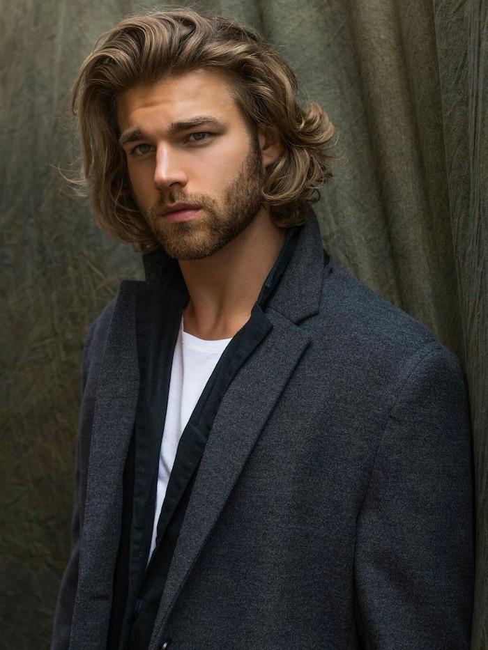 blonde hair, trendy haircuts for men, dark grey blazer, white t shirt