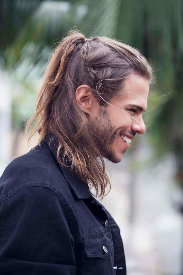 blonde hair, half braided, half ponytail, medium length hairstyles for men, black denim jacket