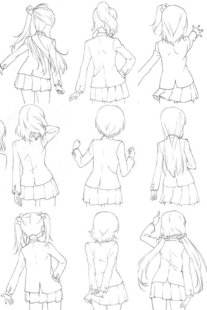 cute anime drawings, black and white, pencil sketch, different hairstyles
