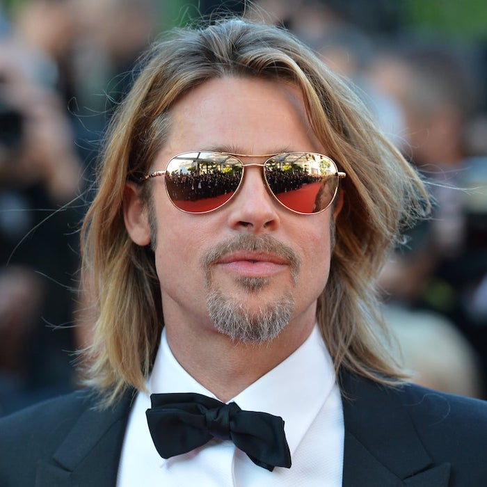 brad pitt, wearing sunglasses, black tuxedo, white shirt, trendy haircuts for men, blonde hair