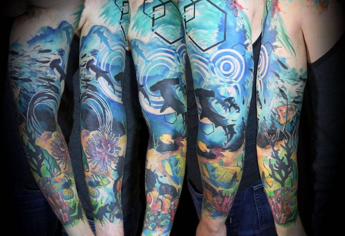 watercolour tattoo, dragon sleeve tattoo, underwater world, coral reefs and fish
