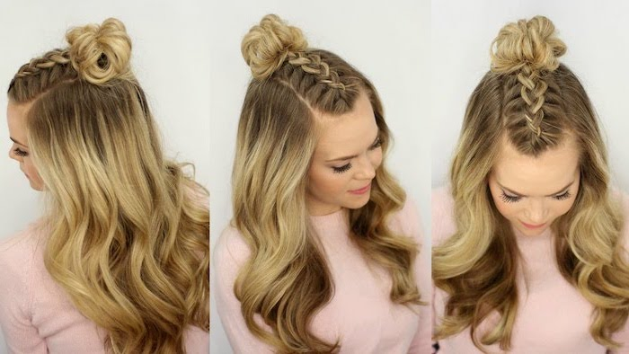 blonde hair, braid and a bun, african braids hairstyles pictures, pink blouse, side by side photos