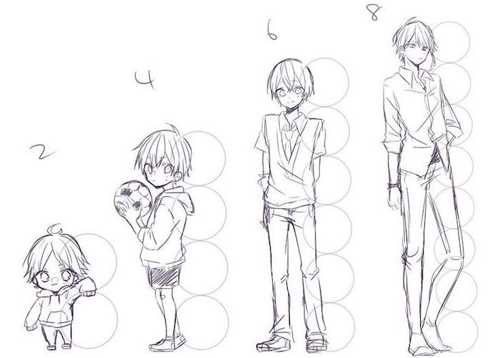 anime face, boy drawing, different heights, step by step tutorial