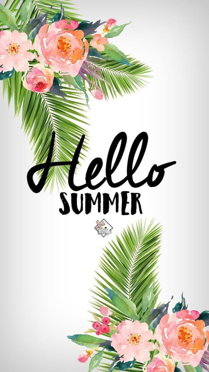 hello summer, green palm leaves, pink flowers, cute wallpapers, white background
