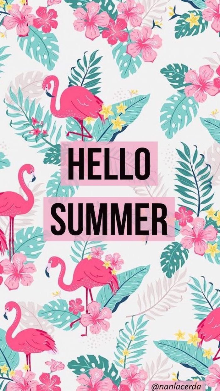 hello summer, pink flamingos, pink flowers, green palm leaves, aesthetic iphone wallpaper