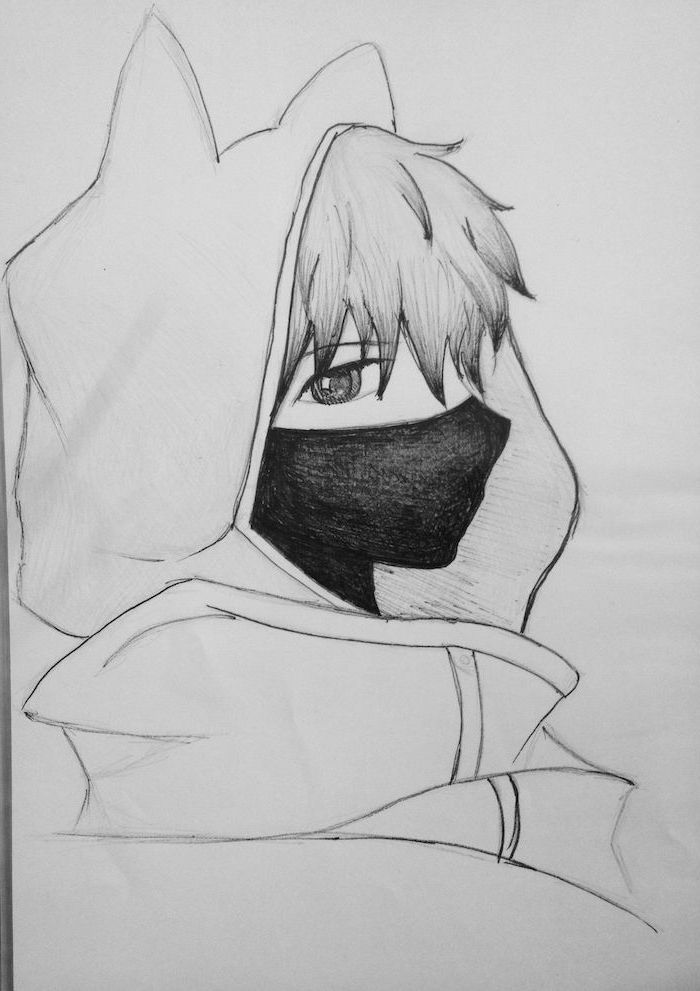 pencil sketch, black and white, cute anime drawings, boy drawing