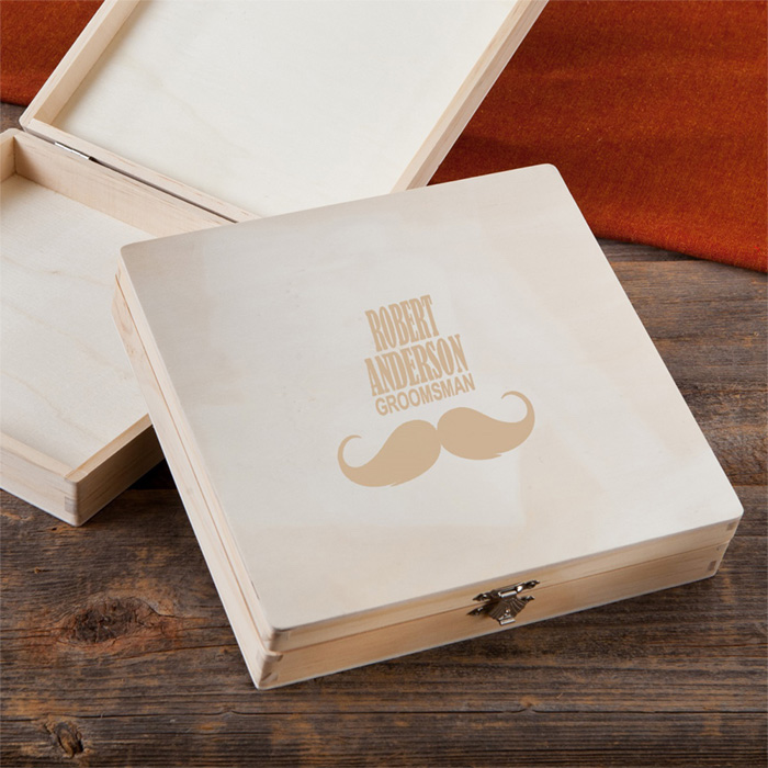 wooden cigar box, personalised with name, best groomsmen gifts ever, wooden background
