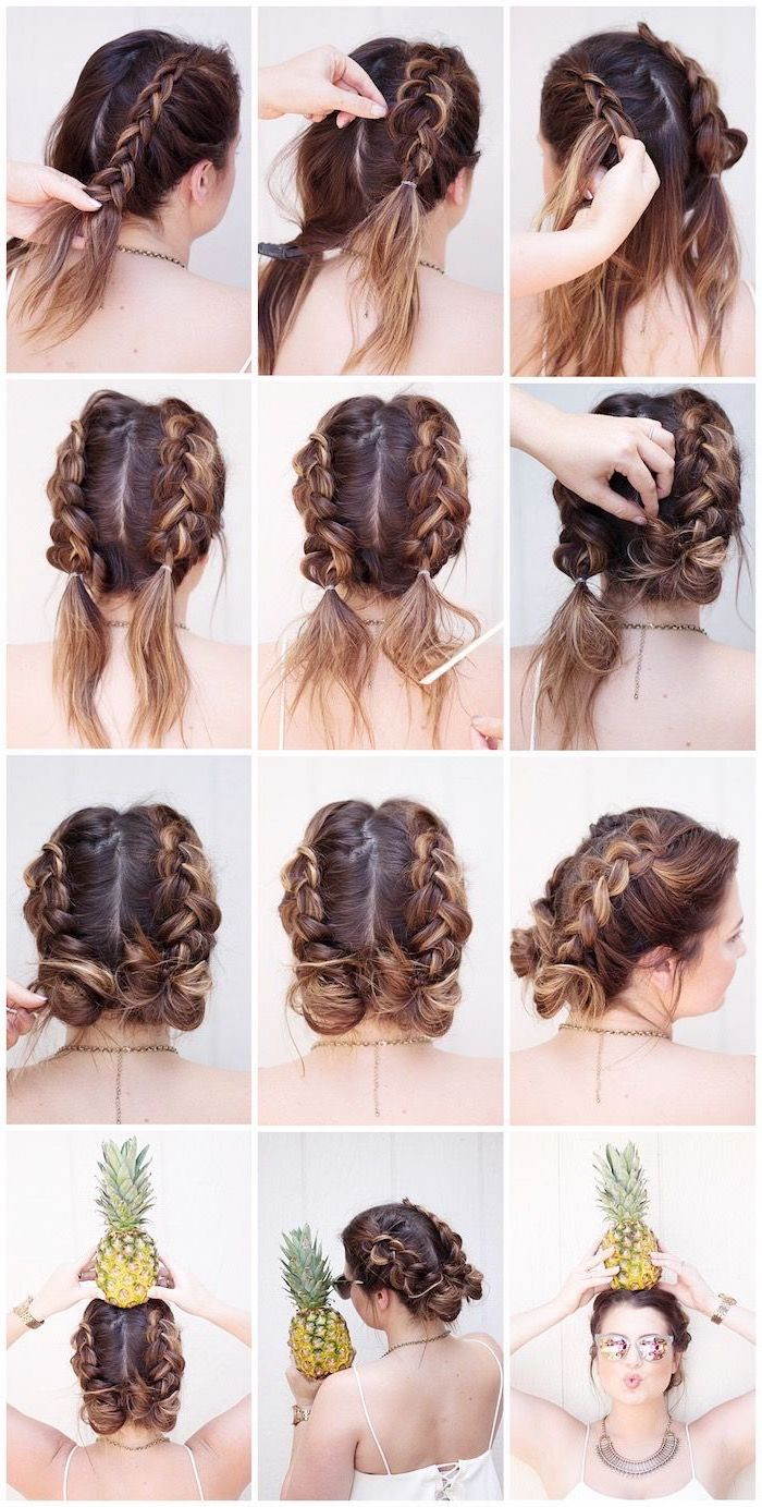 brown hair, blonde highlights, african braids hairstyles pictures, step by step, diy tutorial