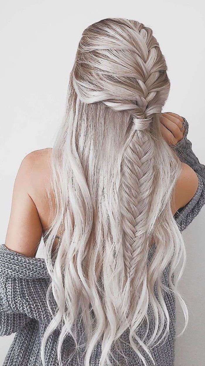 platinum blonde hair, fishtail braid, french braid hairstyles, grey cardigan, white background