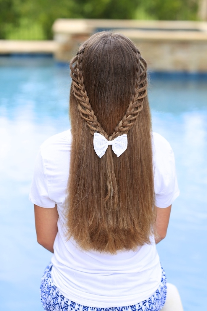 little girl, french braid hairstyles, brown hair, two braids, white bow, white shirt