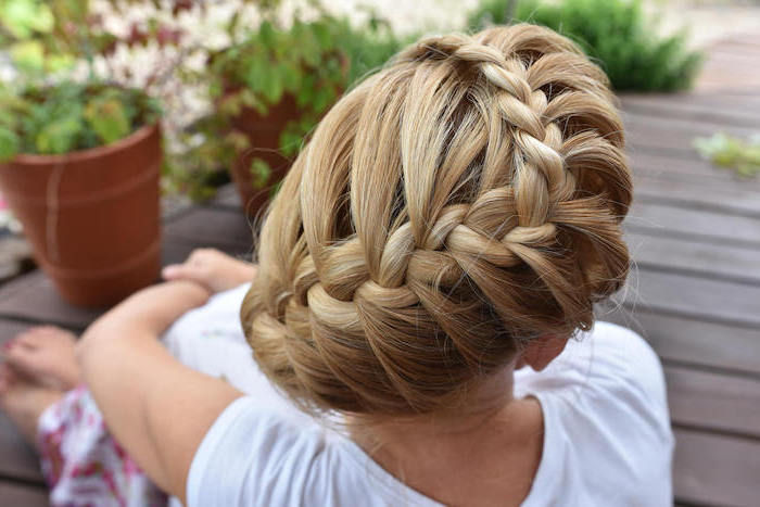 blonde hair, braided updo, white shirt, potted plants, easy braid hairstyles, wooden floor
