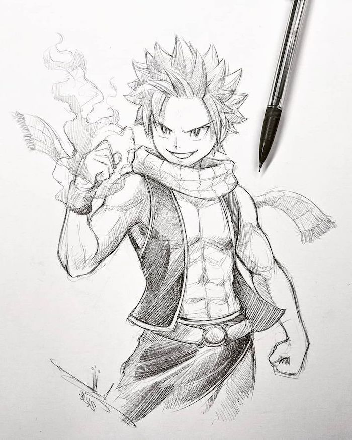 cute anime drawings, pencil sketch, black and white, anime character