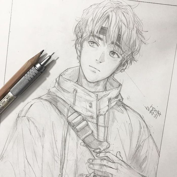 pencil sketch, black and white, how to draw anime heads, boy drawing