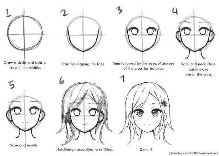 face drawing, step by step tutorial, how to draw anime, black and white, pencil sketch