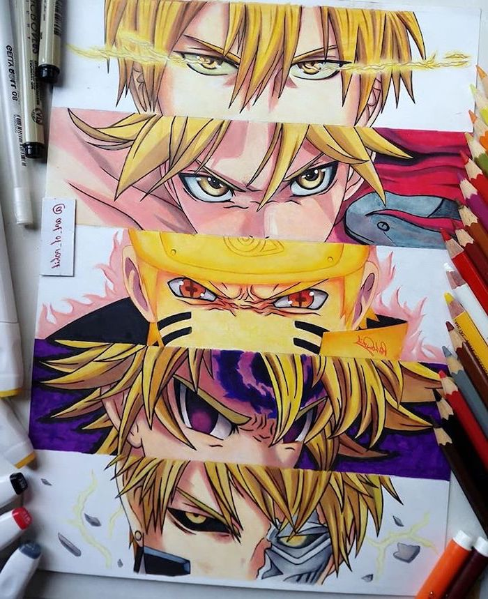 different anime characters, colourful drawing, anime face, drawing anime characters step by step