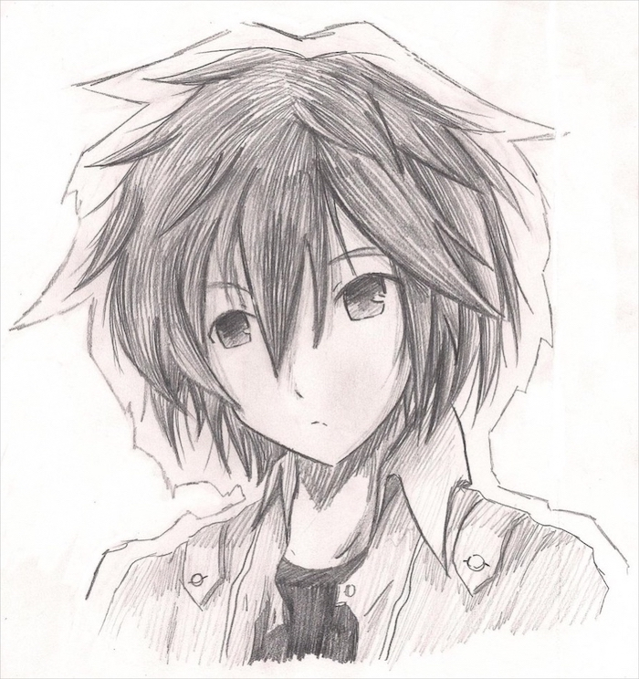 black and white, pencil sketch, how to draw anime heads, boy drawing