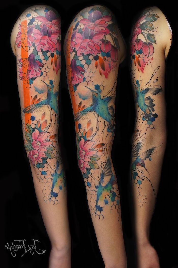 watercolour tattoo, hummingbird and flowers, black background, half sleeve tattoos for women