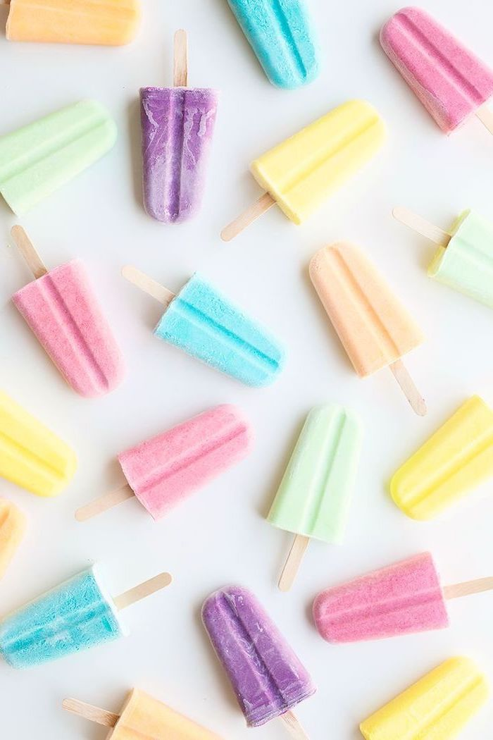 colorful lollies, aesthetic iphone wallpaper, yellow and orange, purple and blue, pink and green