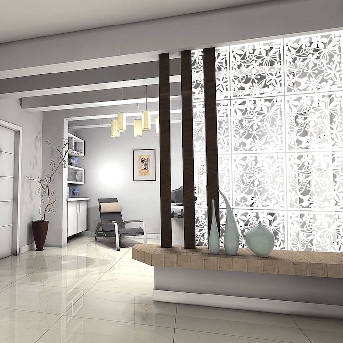 metal floral panels, panel room divider, wooden shelf, black leather armchair, tiled floor