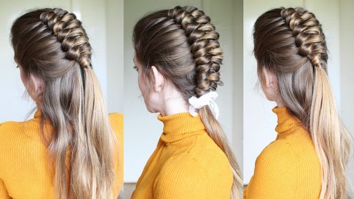yellow polo sweater, how to braid, dark blonde hair, half braid, half ponytail