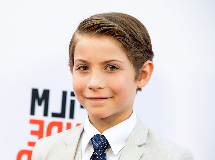 jacob tremblay, brown hair, side swept, cool haircuts for boys, white blazer, blue tie