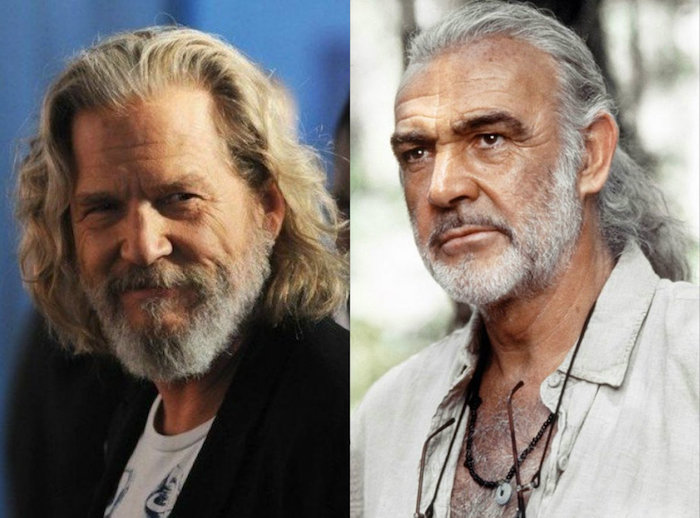 side by side photos, wavy hair men, jeff bridges, marlon brando, grey hair