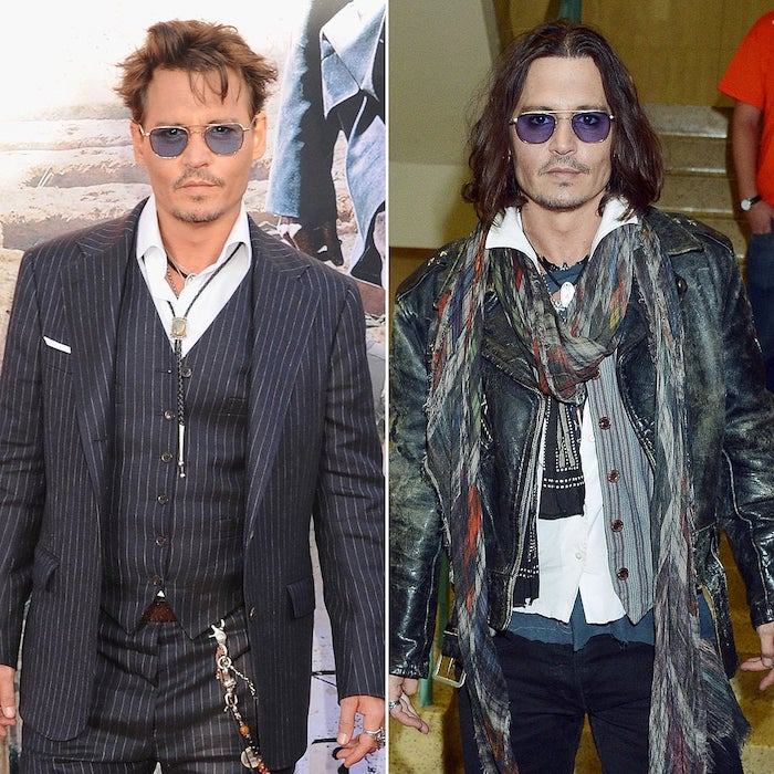 haircuts for men with thick hair, johnny depp, side by side photos, with short and long hair