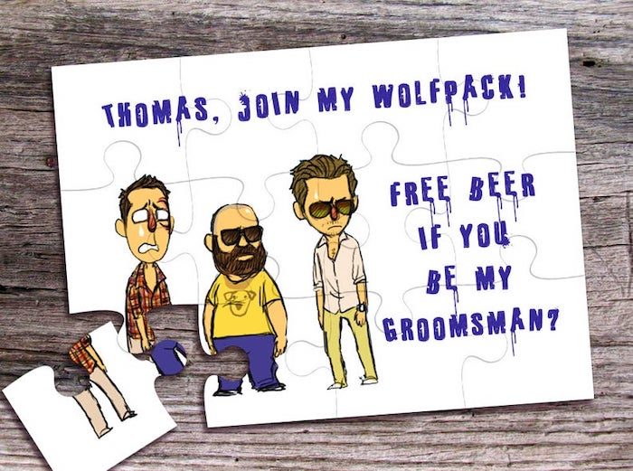 join my wolfpack, jigsaw puzzle, good groomsmen gifts, wooden background