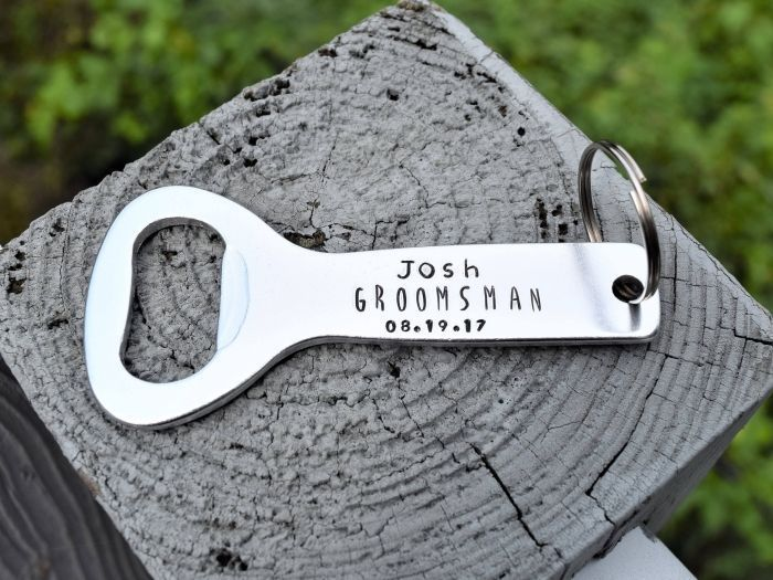 metal bottle opener, personalised with name and date, good groomsmen gifts