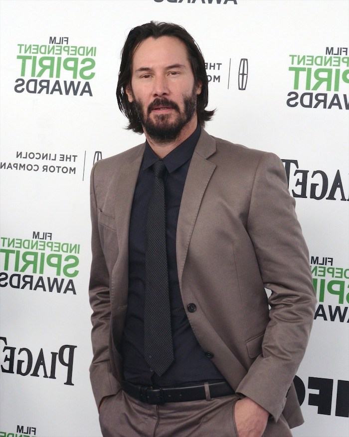 keanu reeves, hairstyle for men, grey suit, black shirt, black tie, black hair