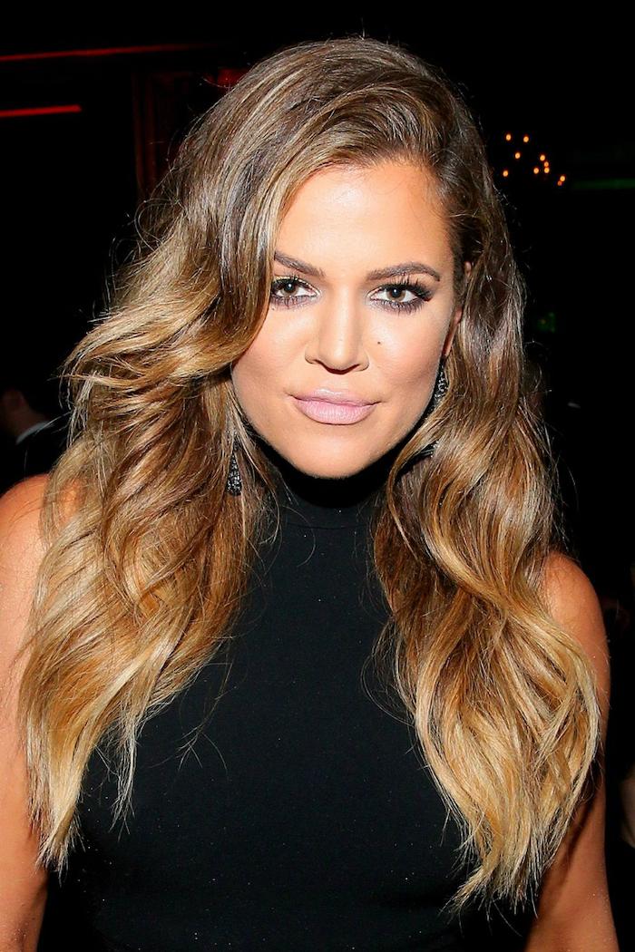 khloe kardashian, brown to blond, long wavy hair, ash blonde ombre, black polo dress
