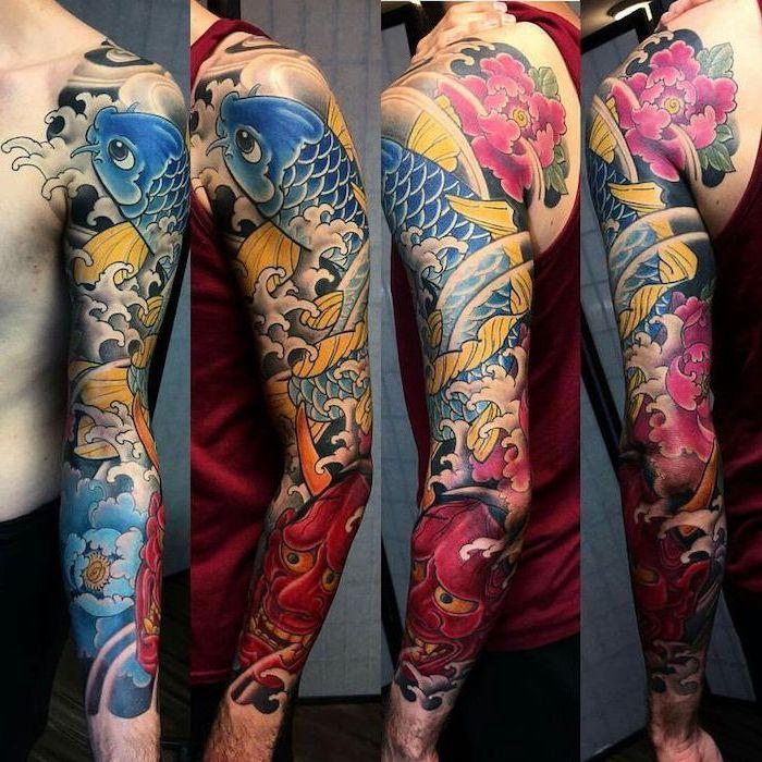 lion tattoo sleeve, koi fish, coloured japanese tattoo, red top