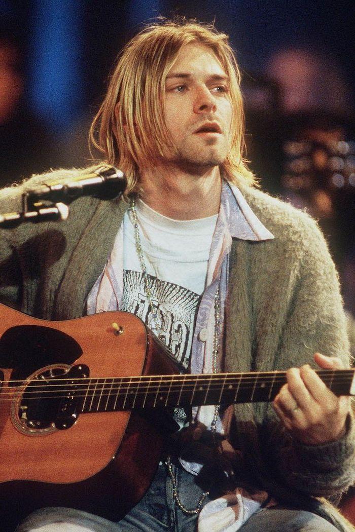 kurt cobain, playing the guitar, hairstyles for men, grey, cardigan, blonde hair, white shirt