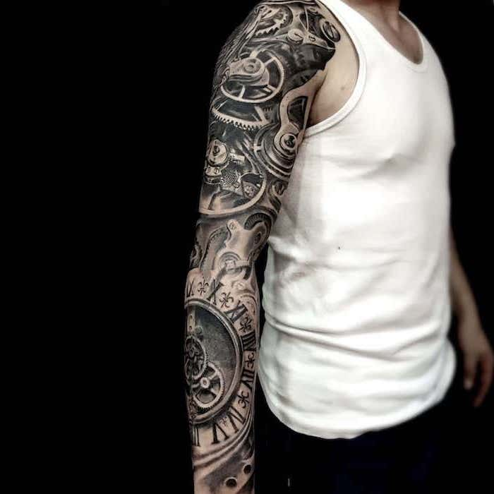 white top, black background, lion tattoo sleeve, biomechanical clock