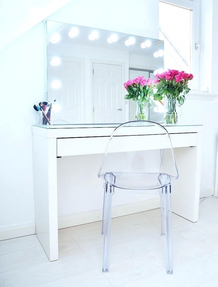acrylic chair, makeup desk vanity, white table, mirror with lights, pink roses bouquet